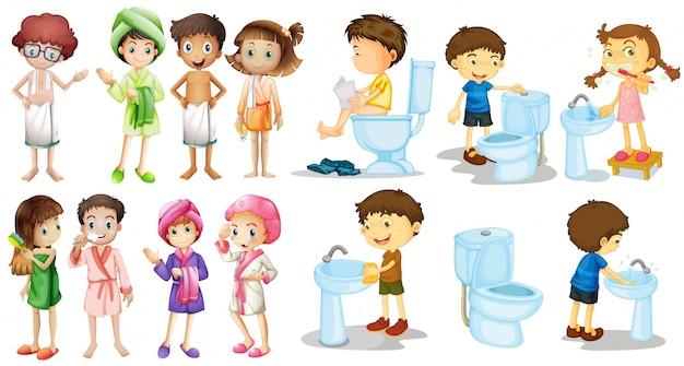 Meninos, meninas, roupão, ilustração Vetor grátis