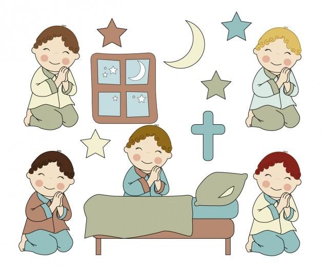 Meninos orando Vetor grátis