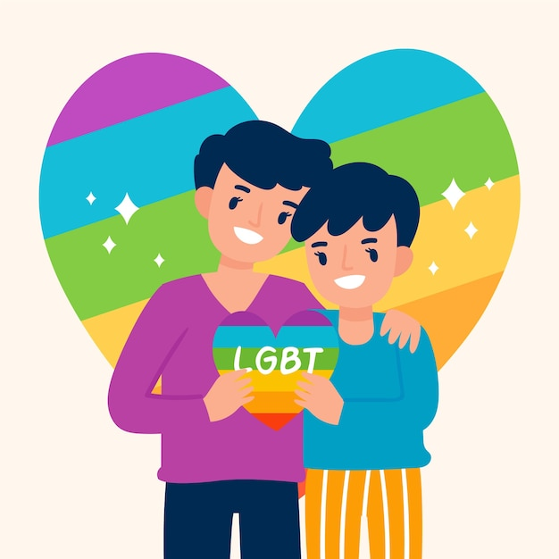 Meninos segurando coração arco-íris Vetor grátis