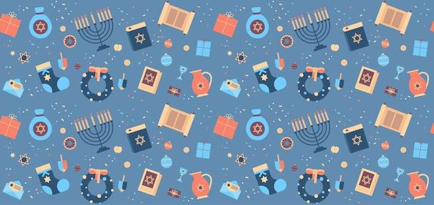 Menorah torá bíblia caixa de presente ícones grinalda conjunto feliz hanukkah judaísmo feriados religiosos celebração festival judaico conceito padrão sem emenda ilustração vetorial horizontal Vetor Premium