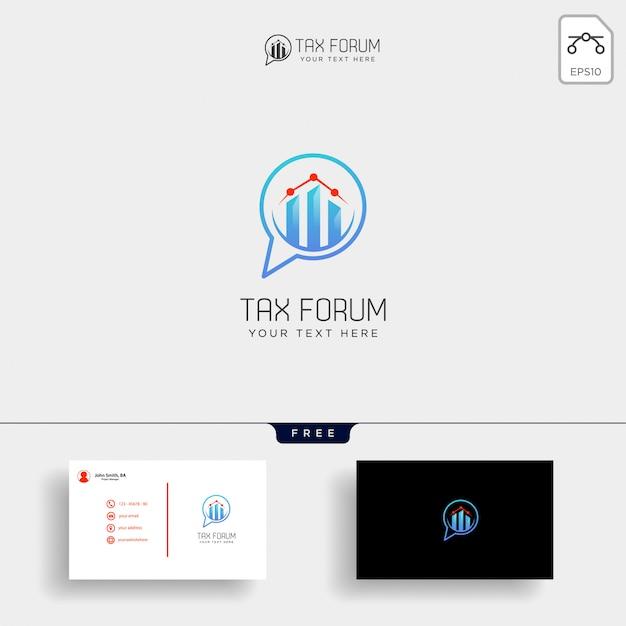 Mensagem, bate-papo, modelo de logotipo financeiro de contabilidade do fórum Vetor Premium