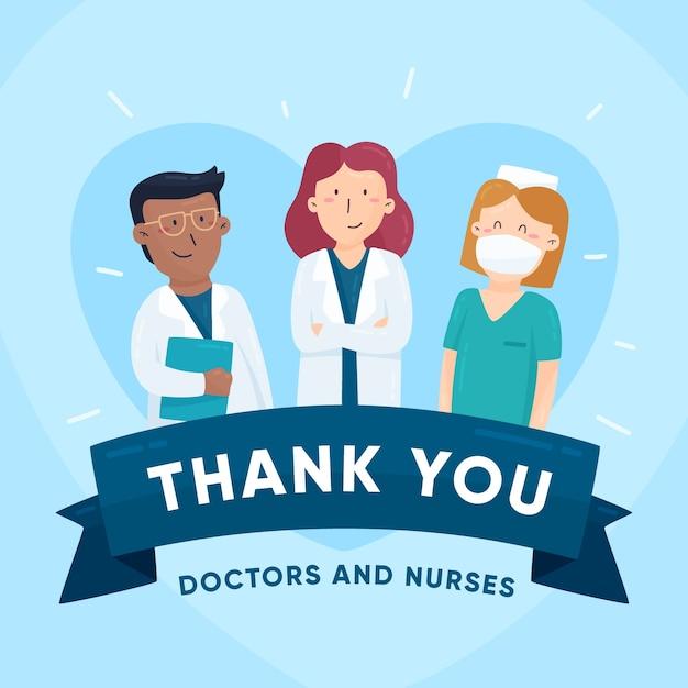 Mensagem de agradecimento para ilustração de médicos e enfermeiros Vetor grátis