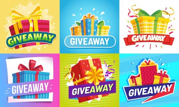 Mensagem de doação. doar presentes, recompensa vencedor e prêmio de presente desenhar conjunto de ilustração de postagens de mídia social Vetor Premium