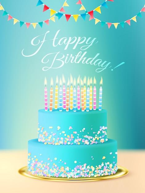 Mensagem de feliz aniversário com bolo realista Vetor grátis