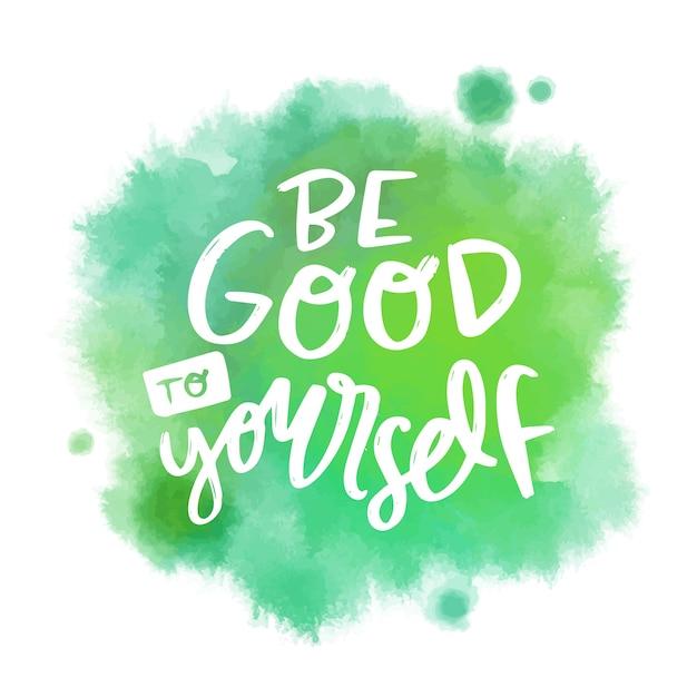 Mensagem de letras positivas na mancha verde aquarela Vetor grátis