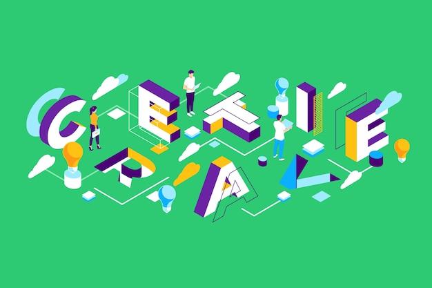 Mensagem de tipografia isométrica criativa Vetor grátis