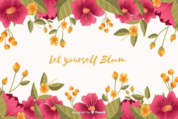 Mensagem positiva no quadro de fundo floral Vetor grátis