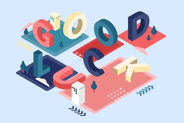 Mensagem tipográfica isométrica de boa sorte Vetor grátis