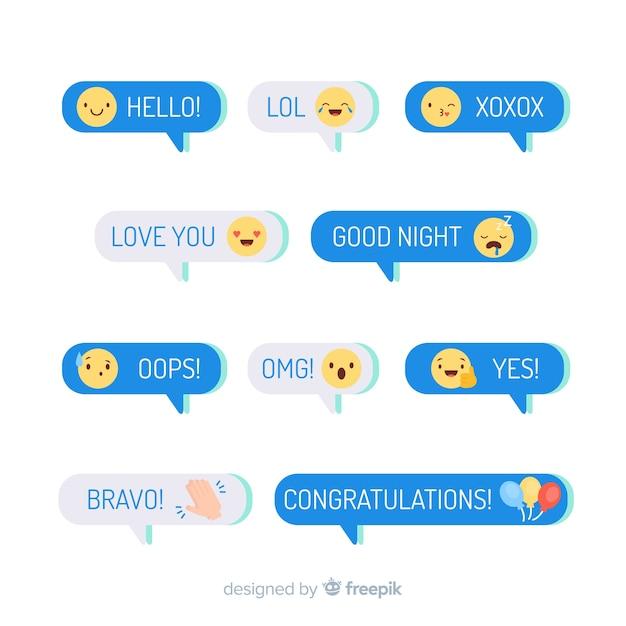 Mensagens com design plano de emojis Vetor grátis