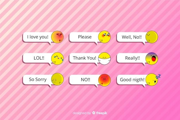 Mensagens com emojis em fundo rosa Vetor grátis