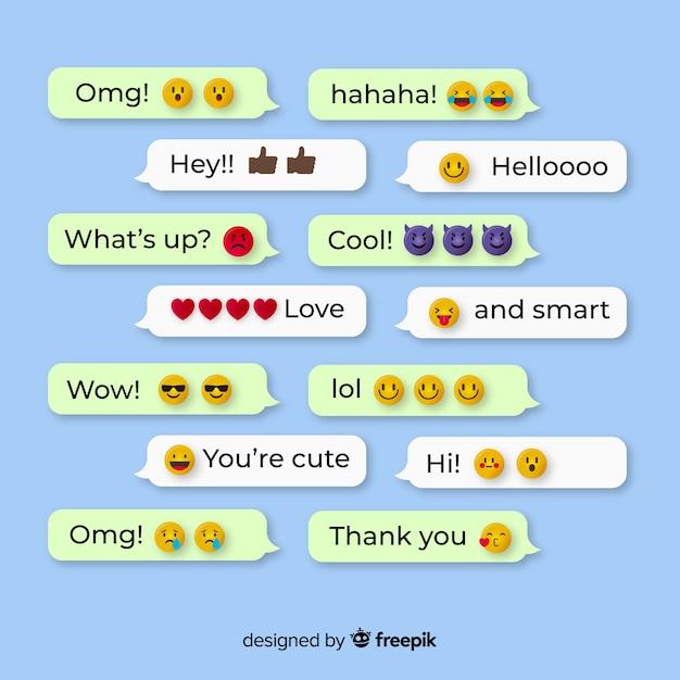 Mensagens com reações de emojis Vetor grátis