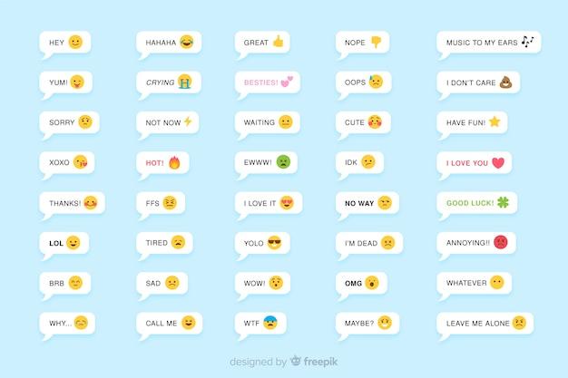 Mensagens com reações de emojis Vetor Premium