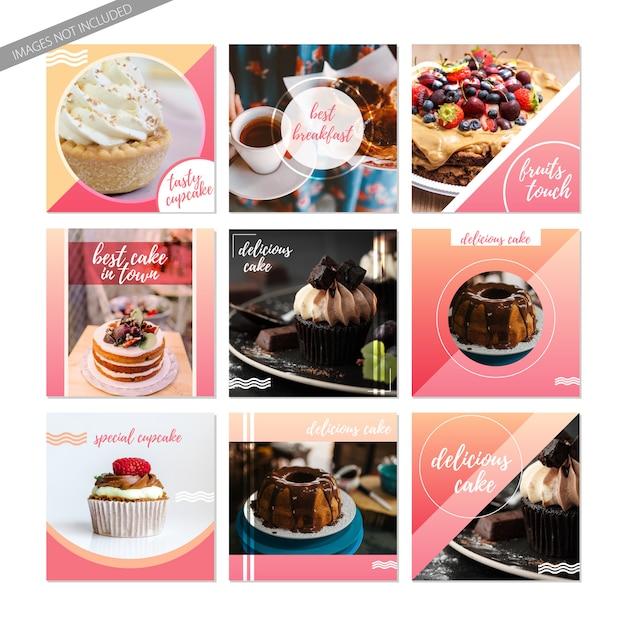 Mensagens de mídia social de alimentos doces. bolos e modelos de cupcake para instagram ou facebook Vetor Premium