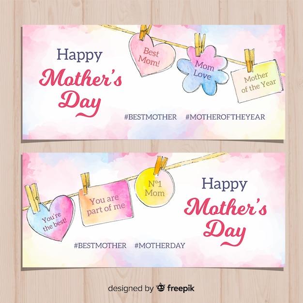 Mensagens de suspensão banner aquarela de dia das mães Vetor grátis