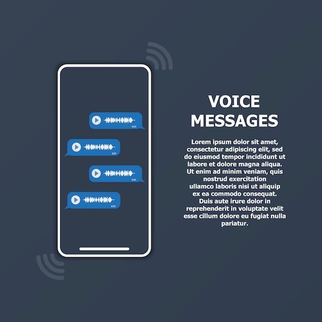 Mensagens de voz na tela do telefone e texto à direita. Vetor Premium