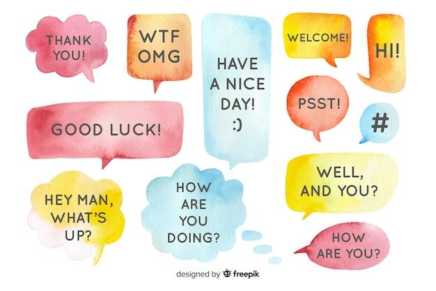Mensagens em balões de fala em design aquarela Vetor grátis