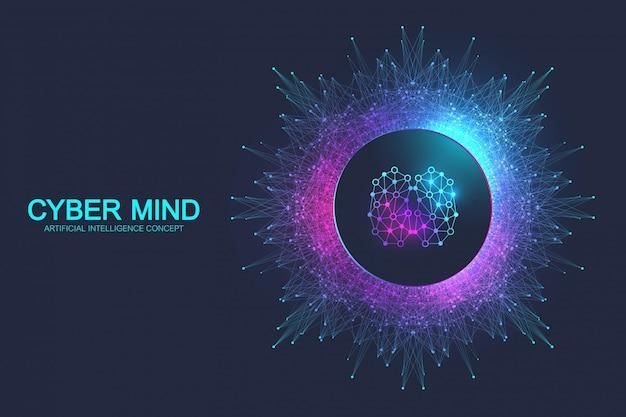 Mente cibernética e conceito de inteligência artificial. redes neurais e outro conceito de tecnologias modernas. análise do cérebro. cérebro humanóide cibernético futurista. fluxo de big data. Vetor Premium