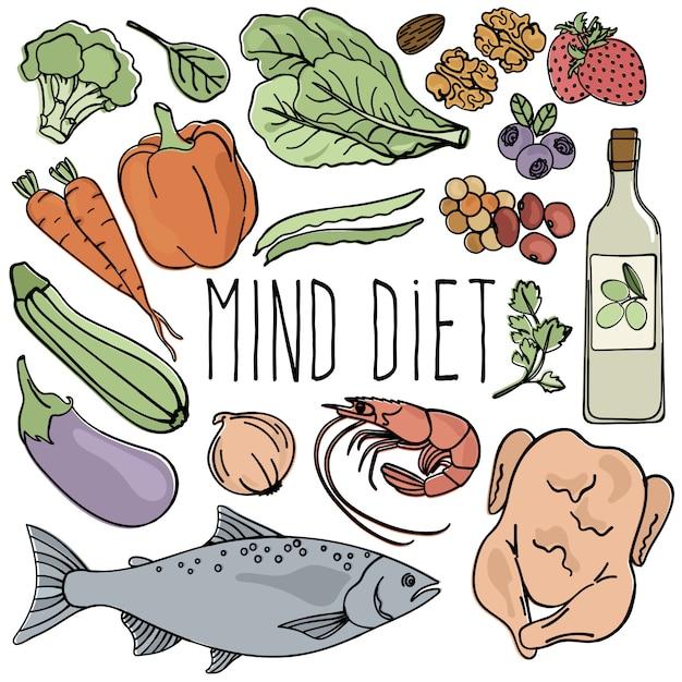 Mente dieta saudável nutrição cérebro vector Vetor Premium