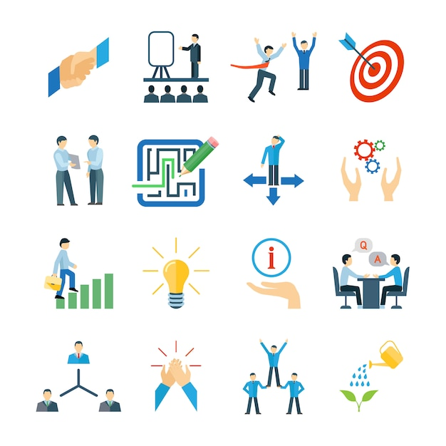 Mentoring e desenvolvimento de habilidades pessoais ícones conjunto plano Vetor grátis