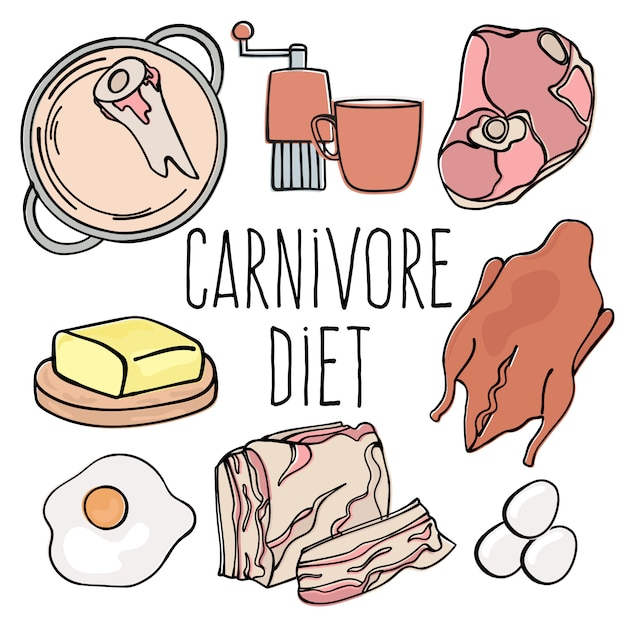 Menu carnivore dieta saudável orgânica Vetor Premium