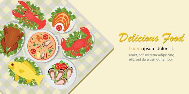 Menu de almoço de comida deliciosa com salada de frango e frutos do mar. Vetor Premium