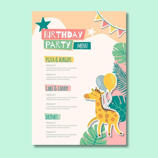 Menu de aniversário infantil Vetor grátis