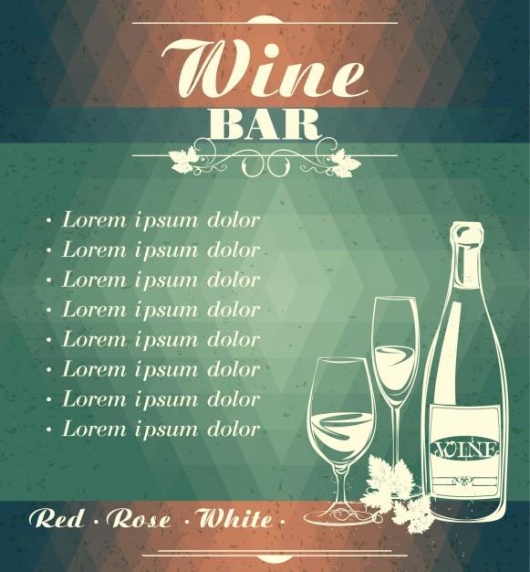 Menu de bar de vinhos Vetor grátis