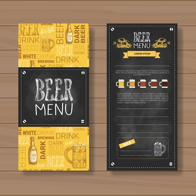 Menu de cerveja cenografia para restaurante cafe pub riscado Vetor Premium