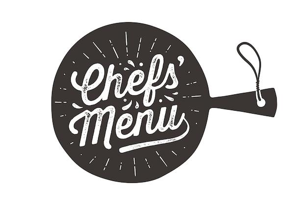 Menu de chefs, tábua de corte. Vetor Premium