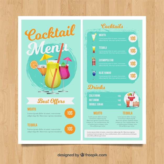 Menu de cocktail azul claro Vetor grátis