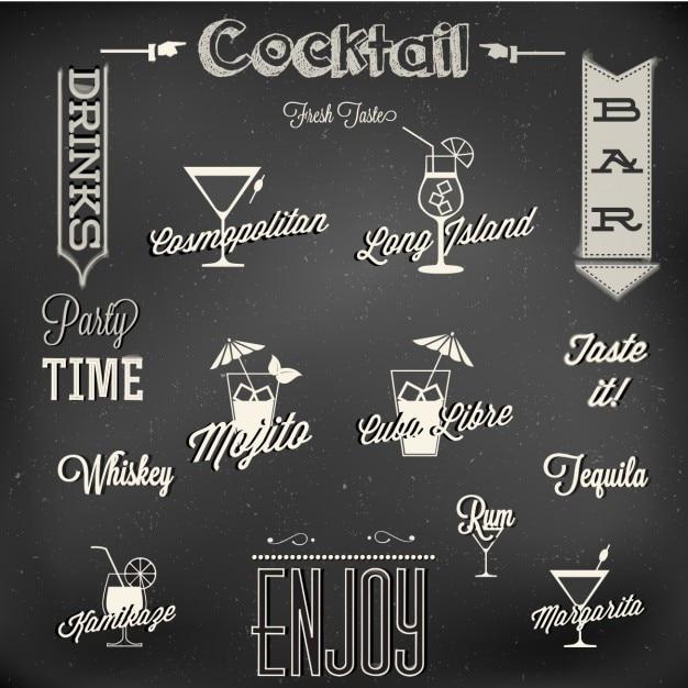 Menu de cocktails Vetor grátis