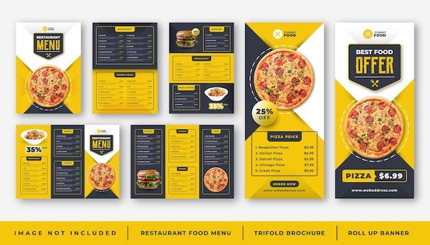 Menu de comida de restaurante café, modelo de folheto com três dobras, conjunto de banner de enrolar Vetor Premium