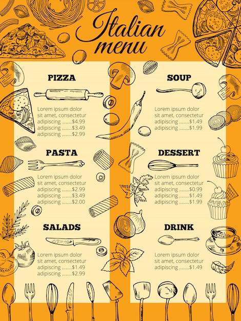 Menu de comida italiana de diferentes massas e pizzas Vetor Premium