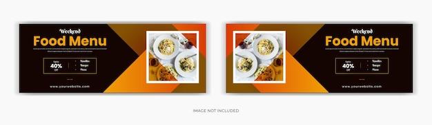 Menu de comida nas redes sociais, postagem da página de capa do facebook Vetor Premium