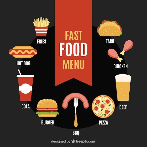 Menu de comida rápida em estilo plano Vetor grátis