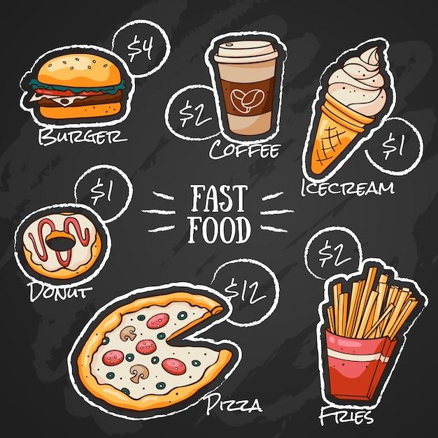 Menu de fast food de desenho de giz Vetor Premium