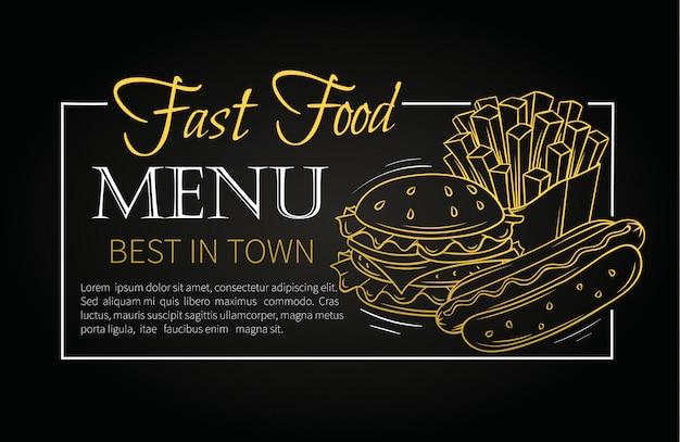 Menu de fast-food. Vetor Premium