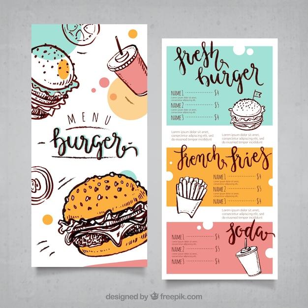 Menu de hambúrguer desenhado à mão Vetor grátis