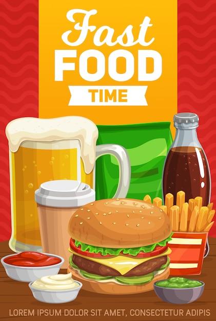 Menu de hambúrgueres, bebidas e lanches de fast-food Vetor Premium