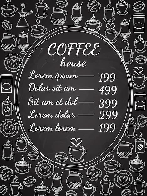 Menu de lousa da cafeteria com uma moldura oval central com a lista de preços cercada por uma variedade de ilustração vetorial de café branco no preto Vetor grátis