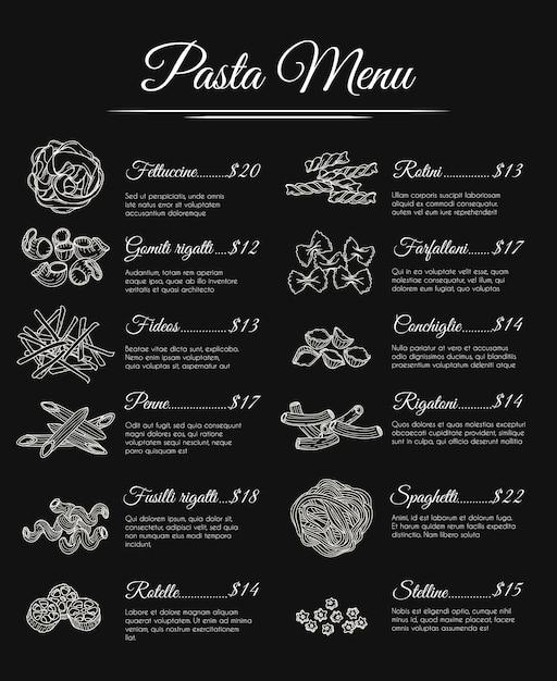 Menu de massa desenhada de mão Vetor Premium