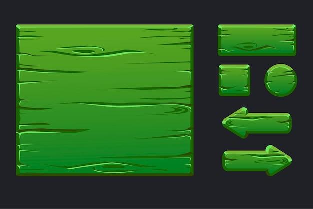 Menu de modelo de madeira verde de interface gráfica de usuário e botões Vetor Premium