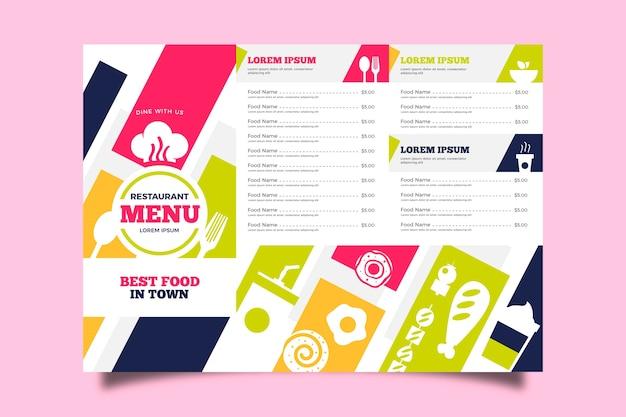 Menu de modelo de restaurante colorido Vetor grátis