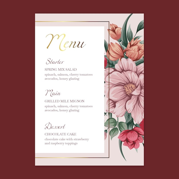 Menu de modelos de casamento floral Vetor Premium