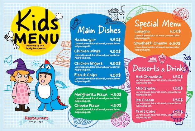 Menu de refeição de crianças colorido Vetor Premium