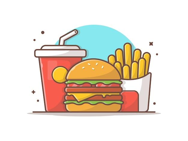 Menu de refeição infantil saborosa burger burger de queijo com batatas fritas e refrigerante Vetor Premium
