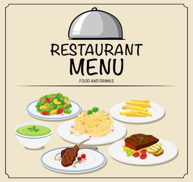 Menu de restaurante com comida diferente Vetor grátis