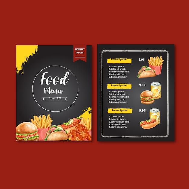Menu de restaurante de fast food. comida de aperitivo de lista de menu de borda de quadro Vetor grátis