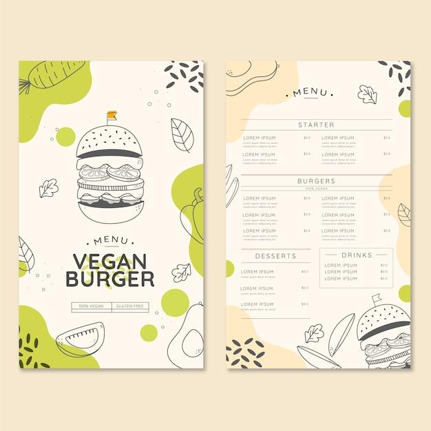 Menu de restaurante de hambúrguer vegano orgânico Vetor Premium