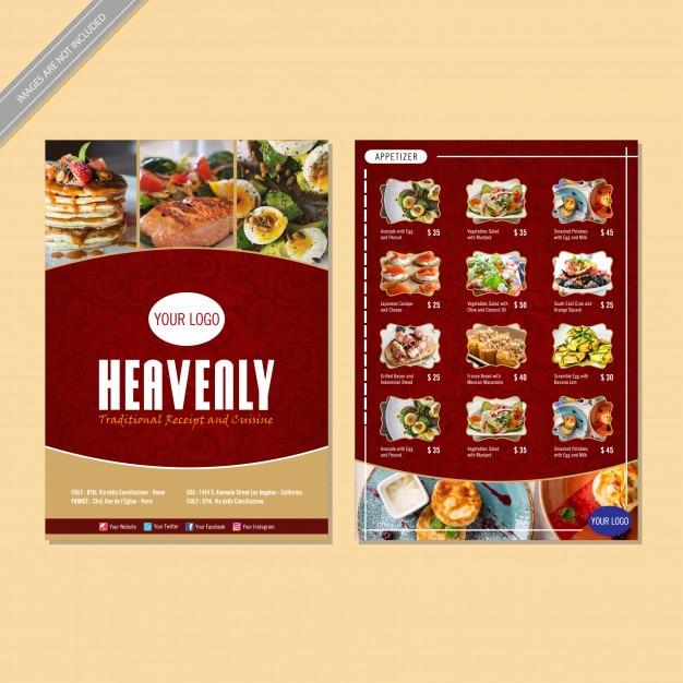 Menu de restaurante flyer design Vetor Premium